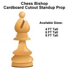 Chess Bishop Wood Cardboard Cutout Standup Prop