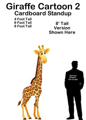 Giraffe Cartoon 2 Cardboard Cutout Standup Prop