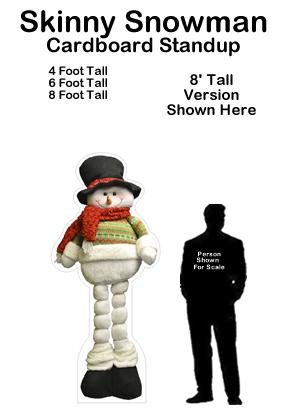Skinny Snowman Cardboard Cutout Standup Prop