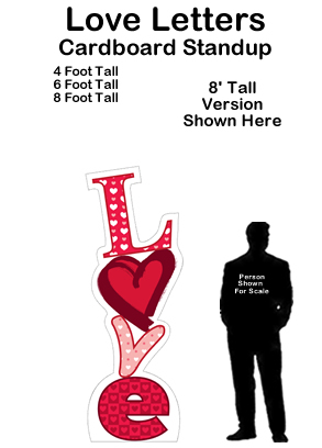 Stacked Love Letters Cardboard Cutout Standup Prop