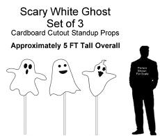 Scary White Ghost Cardboard Cutout Standup (Set of 3)
