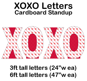 XOXO Letters Cardboard Cutout Standup Prop