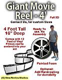Giant 4 Foot Movie Reel With Film Foam Prop
